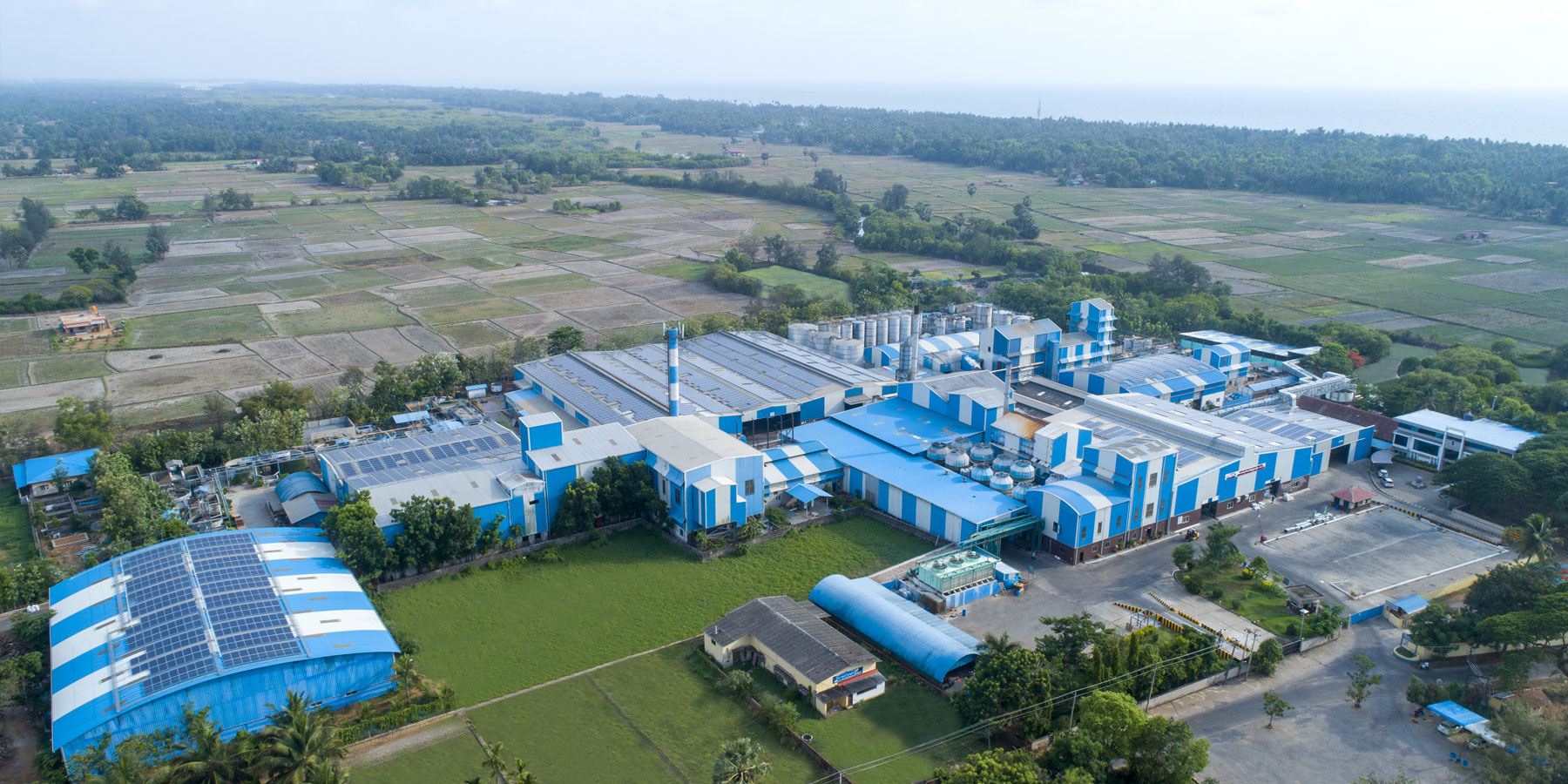 Aerial view of the Janatha Fish Meal Factory